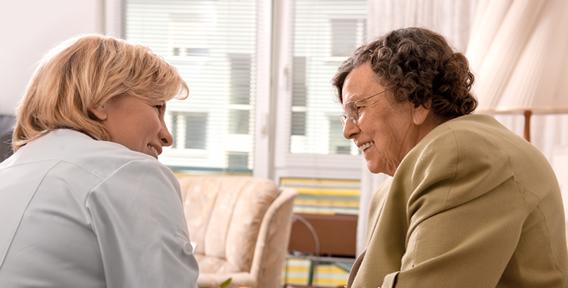 two senior woman talking